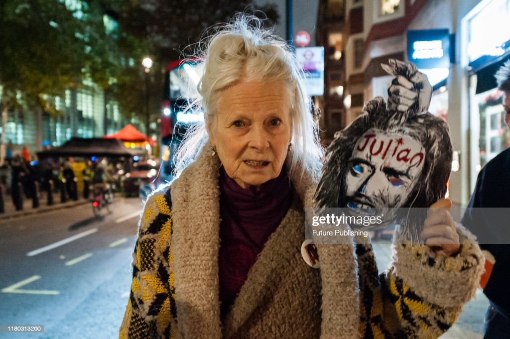 British Fashion Designer Dame Vivienne Westwood Holds A Mask During A News Photo Getty Images