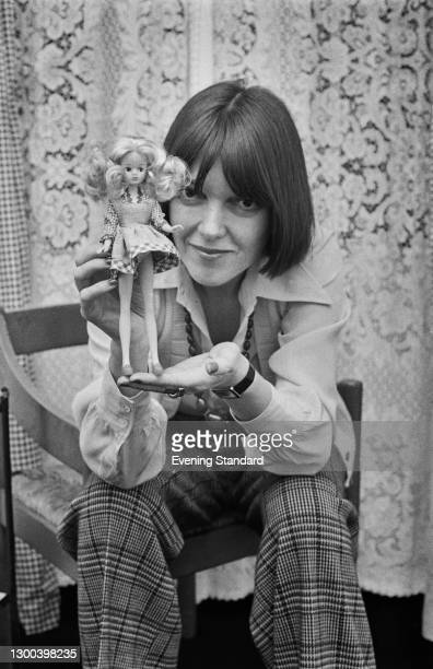 British fashion designer Mary Quant at the launch of the new doll Daisy, UK, 14th January 1973. The doll's wardrobe was designed by Quant, and the...