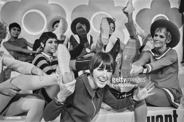 British fashion designer Mary Quant launches her footwear collection Quant Afoot at the Carlton Tower Hotel in London, UK, 15th August 1967.