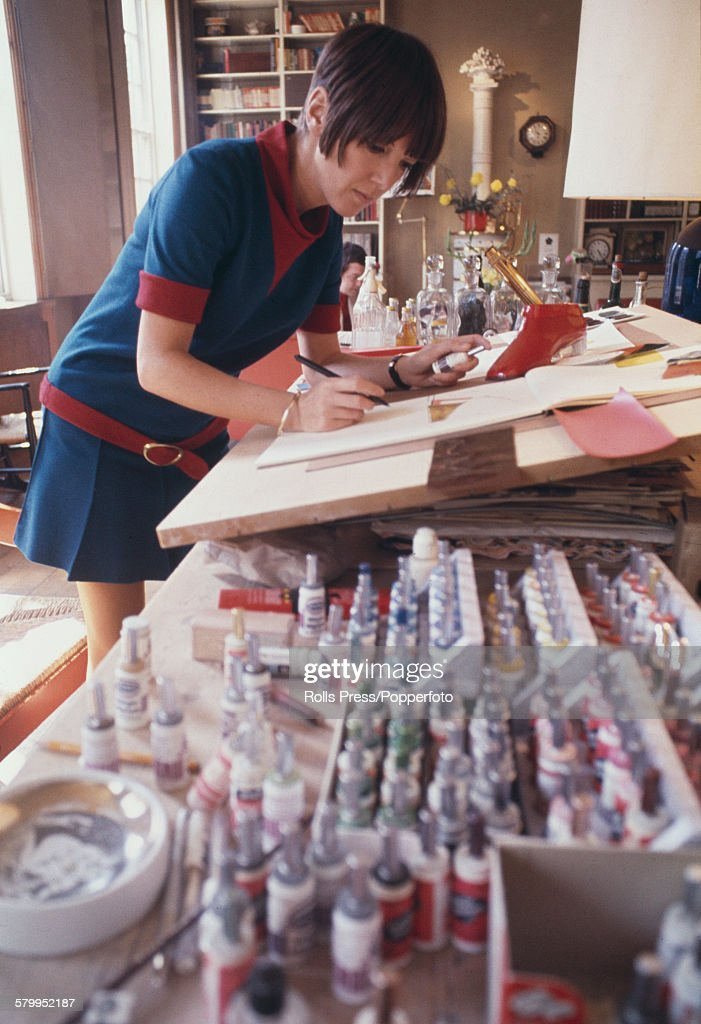 British fashion designer Mary Quant pictured working at a