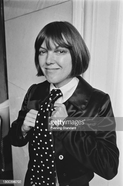 British fashion designer Mary Quant wearing a wide spotted tie at the launch of her new range of neckwear at the Savoy Hotel in London, UK, 12th...