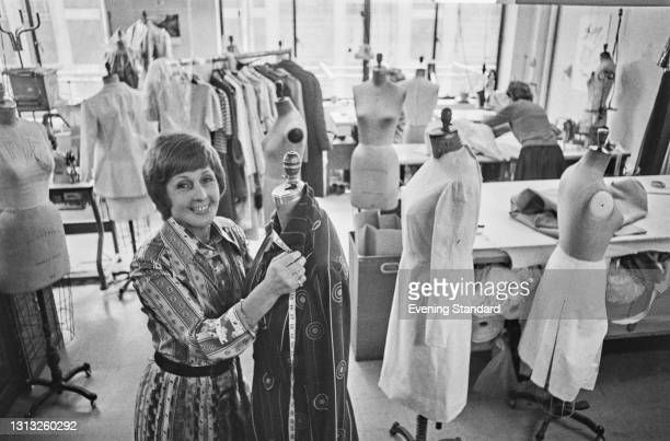 British fashion designer Maureen Baker , UK, 1st June 1973. She has been commissioned to design the wedding dress to be worn by Princess Anne, the...