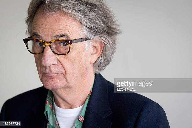 """British fashion designer Paul Smith addresses journalists during a press conference at the opening of the """"Hello, My Name is Paul Smith"""" exhibition..."""