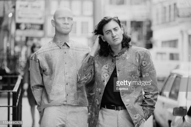 British fashion designer Scott Crolla with a mannequin wearing Crolla collection UK 8th June 1984