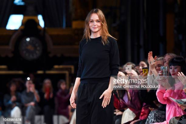 British fashion designer Stella McCartney acknowledges the audience at the end of her SpringSummer 2019 ReadytoWear collection fashion show in Paris...
