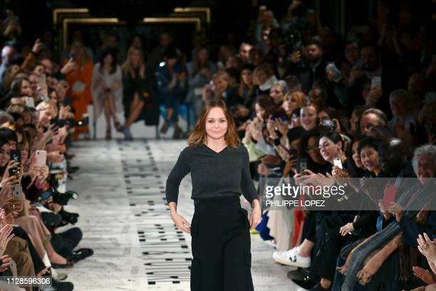 British fashion designer Stella McCartney acknowledges the audience at the end of the Stella McCartney FallWinter 2019/2020 ReadytoWear collection...