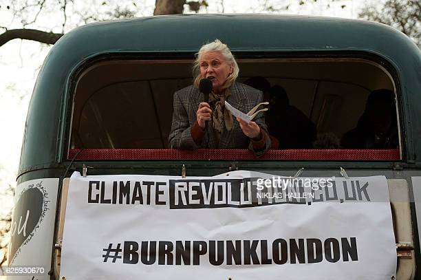 British fashion designer Vivienne Westwood addresses a crowd next to Chelsea Embankment who had gathered to witness her son Joe Corre burn his...