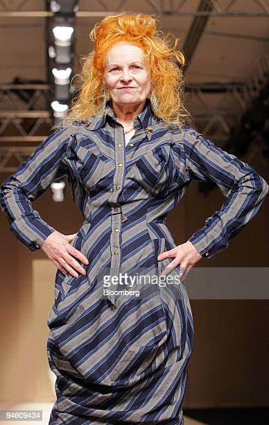British fashion designer Vivienne Westwood appears on the runway at the end of her Spring/Summer 2008 readytowear presentation in Paris France on...