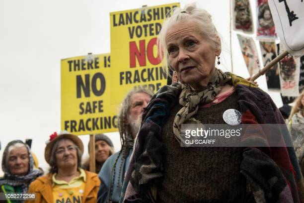 TOPSHOT British fashion designer Vivienne Westwood joins antifracking protesters gathering near the entrance to the Preston New Road drill site where...