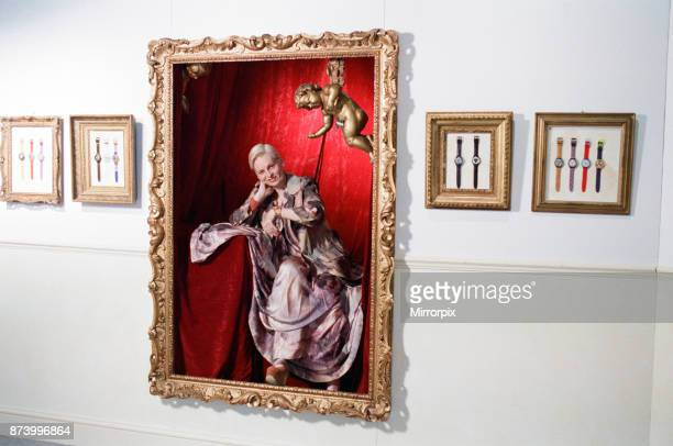 British fashion designer Vivienne Westwood posing as an oil painting at the launch of a 'Swatch' watch to accompany clothes designed by her 21st July...