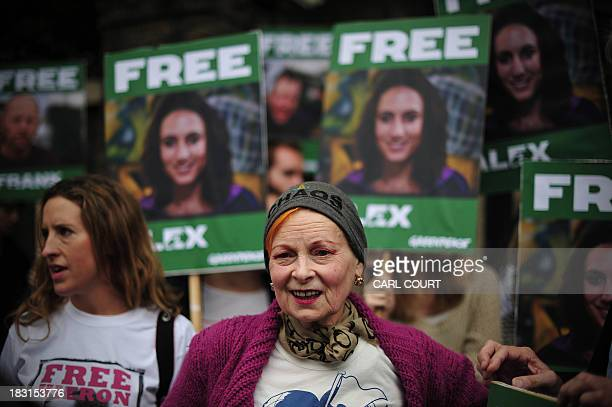 British fashion designer Vivienne Westwood takes part in a protest against the detainment of Greenpeace activists by Russia outside the Russian...