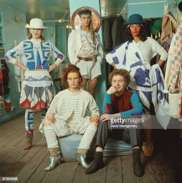 British fashion designer Vivienne Westwood with her partner music manager Malcolm McLaren at her shop on the King's Road London circa 1985
