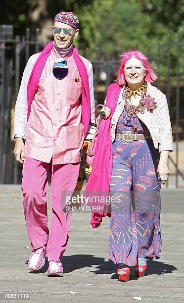 British fashion designer Zandra Rhodes arrives with an unidentified companion at the Horse Guards Chapel in central London 18 September 2007 for the...