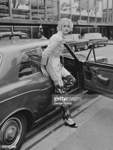 British fashion model actress and singer Twiggy arrives at Heathrow Airport London UK 1st October 1968