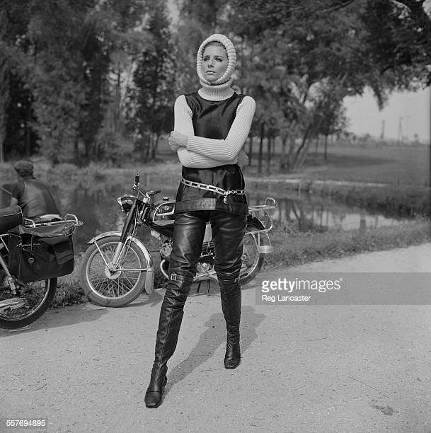 British fashion model and photographer Jill Kennington wearing a vest, turtleneck, and leather trousers, 24th August 1967.