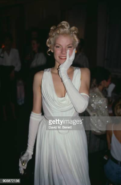 British fashion model Sara Stockbridge at the Elle Magazine's 'British Beauties' Party UK September 1988