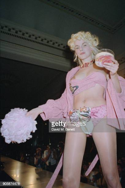 British fashion model Sarah Stockbridge on the catwalk at the Vivienne Westwood Pretaporter Spring/Summer 1991 fashion show in Paris France 1990