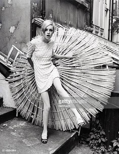 British fashion model Twiggy poses outdoors in 1966. Her professional nickname came from her thin, angular build, which was unusual in the modeling...