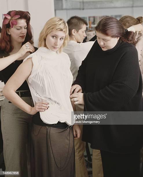 British fashion tutor Louise Wilson the course director of the MA degree Fashion Design program at Central Saint Martins College in London circa 1990