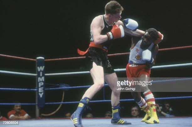 British featherweight boxer Colin McMillan takes on David Anderson in the ABA finals at Wembley 1988