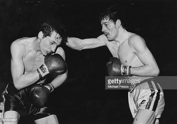 British featherweight boxing champion Pat Cowdell fighting challenger Jimmy Flint at the Royal Albert Hall London 19th February 1980 Cowdell retained...