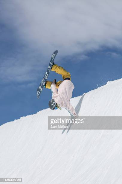 British female freestyle snowboarder Mia Brookes handplant in the halfpipe on the 5th April 2019 in Laax ski resort in Switzerland At 12 years old...