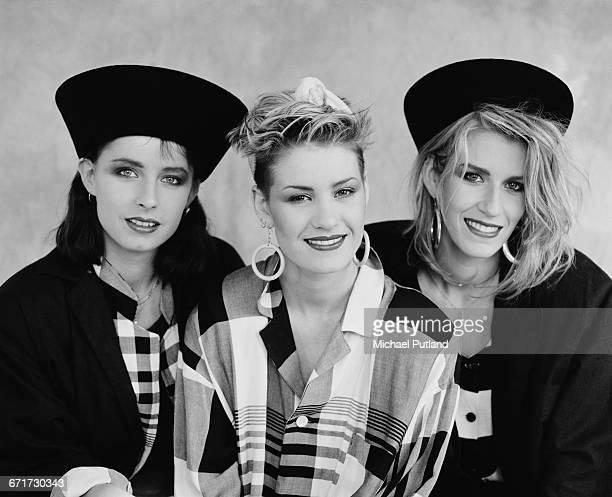 British female pop vocal group Bananarama London September 1984 Left to right Keren Woodward Siobhan Fahey and Sara Dallin