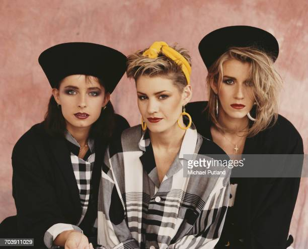 British female pop vocal group Bananarama London September 1984 Left to right Keren Woodward Siobhan Fahey and Sara Dallin