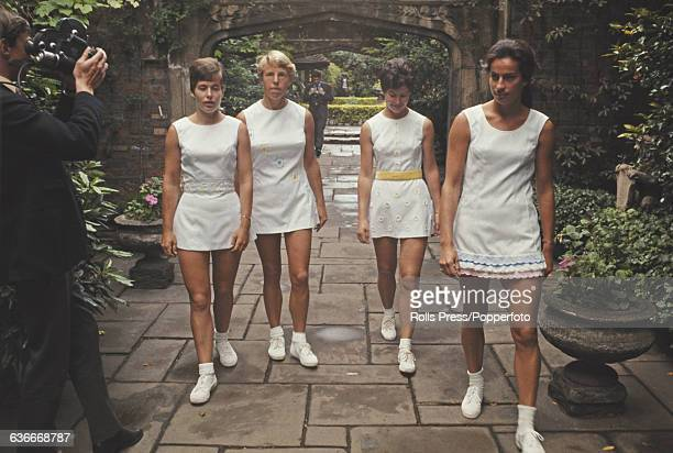 British female tennis players from left Winnie Shaw Ann Jones Joyce Williams and Virginia Wade wear and model fitted tennis dresses all designed by...
