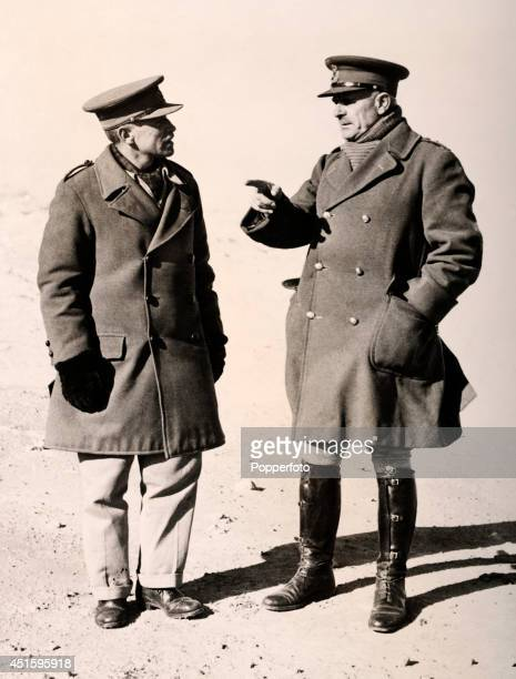 British Field Marshal Archibald Wavell in discussion with Lieutenant General Richard O'Connor commander of the Western Desert Force outside Bardia in...