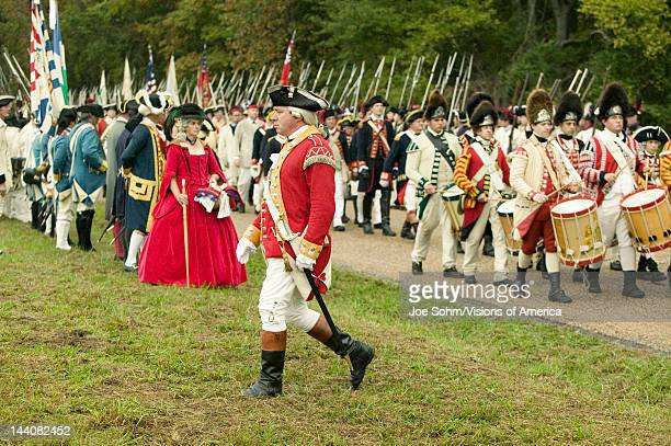 British fife and drum marches on Surrender Road at the 225th Anniversary of the Victory at Yorktown a reenactment of the siege of Yorktown where...