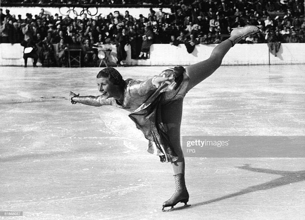 British figure skater Cecilia Colledge executes a spiral during the women's figure skating final at the 1936 Winter Olympic Games, where she won the silver medal in the event, Garmisch-Partenkirchen, Germany, 1936.