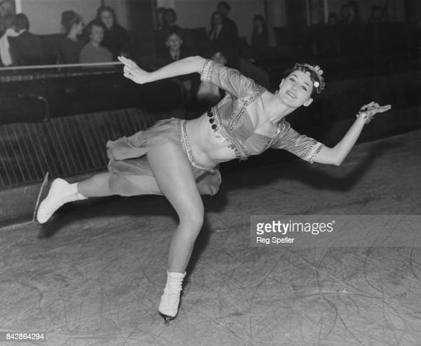 British figure skater Jacqueline Harbord rehearses in costume at the Streatham ice rink for the Christmas Ice Show 'Ali Baba and the Forty Thieves'...