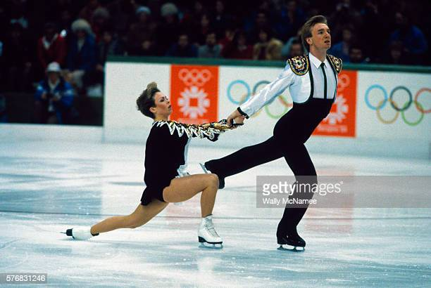 British figure skaters Jayne Torvill and Christopher Dean perform in the figure skating dance event, for which they won the Gold Medal, at the 1984...