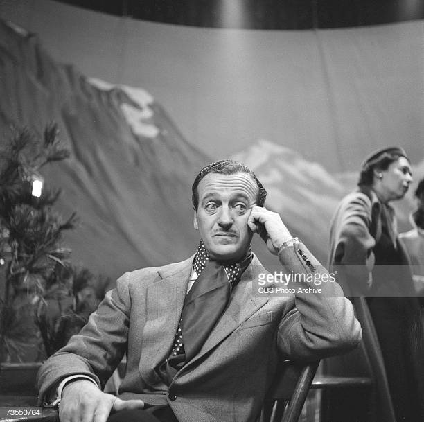 British film actor David Niven on the set of the episode 'Not a Chance' of the CBS anthology series 'The Schlitz Playhouse of Stars' California...