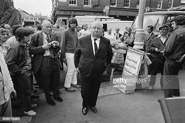 British film director Alfred Hitchcock in Covent Garden London to direct the film 'Frenzy' London UK 26th July 1971 Behind him a prop Evening...