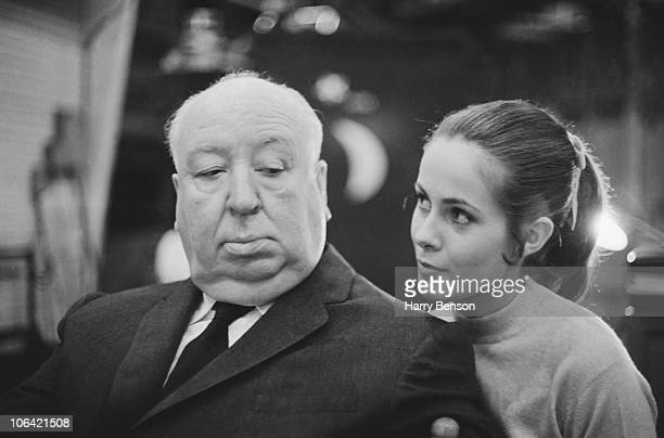 British film director Alfred Hitchcock with French actress Claude Jade on the set of the film 'Topaz' 24th January 1969