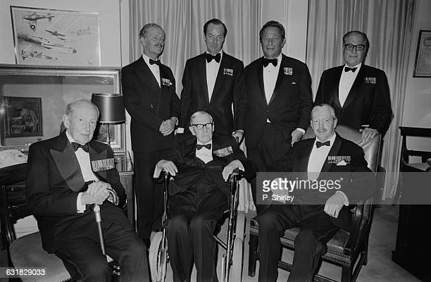 British film director Guy Hamilton with senior veterans of the Battle Of Britain as well as the coproducer of his war epic 'Battle Of Britain' S...