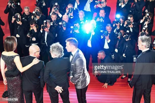 British film producer Adam Bohling , British actor Taron Egerton , British director Dexter Fletcher , British songwriter Bernie Taupin and his...