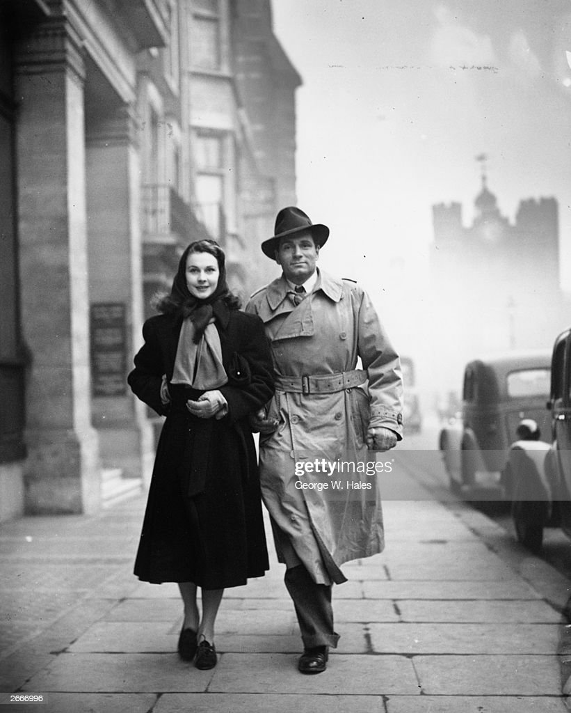 British film stars Laurence Olivier and Vivien Leigh after visiting a London theatre to see a revival of 'Dear Brutus'. The stars have flown to London from Hollywood to play their part in the war. Olivier hopes to join the RAF and Vivien Leigh is hoping to join a stage company touring Britain.