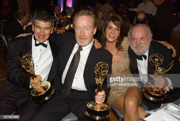 British filmmakers from L to R: writer Hugh Whitemore, executive producer Ridley Scott, his Italian girlfriend Giannina Facio and director Richard...