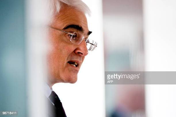 British Finance Minister Alistair Darling gives a speech on the economy in Edinburgh Scotland on April 28 2010 Britons will take to the polls in a...