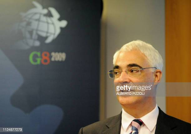 British Finance minister Allistar Darling looks on following the meeting of the Group of Eight Finance chiefs in Lecce on June 13 , 2009. G8 finance...