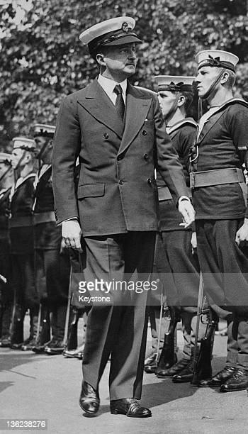 British First Lord of the Admiralty Alfred Duff Cooper inspecting Royal Naval personnel, circa 1938.