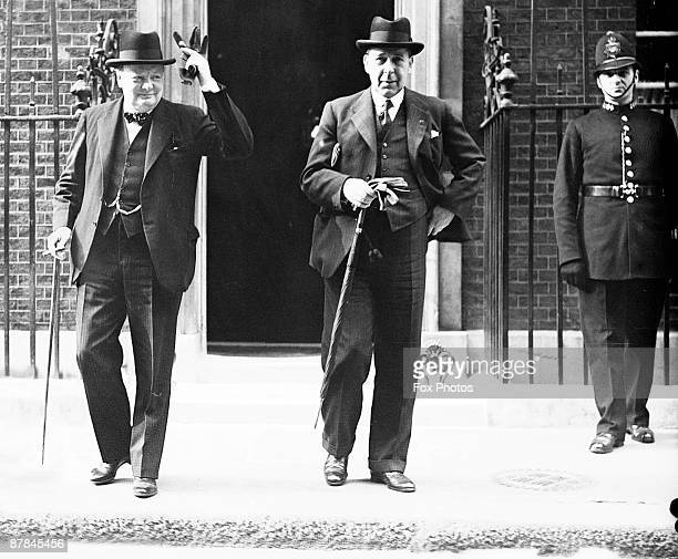 British First Lord of the Admiralty Winston Churchill and Home Secretary Sir John Anderson leave 10 Downing Street, London, after a War Council...