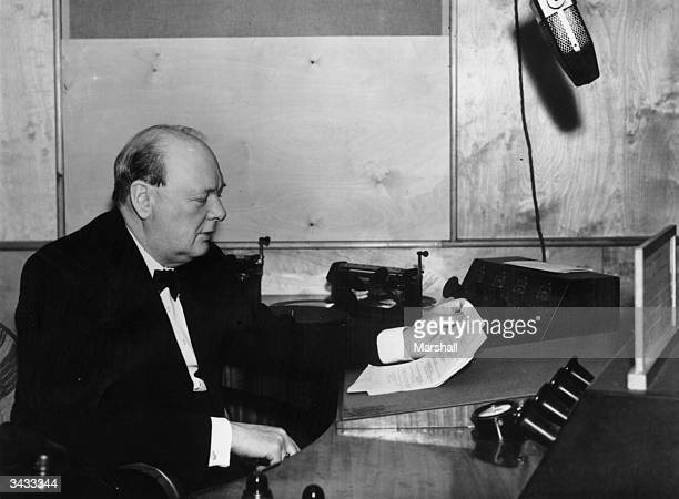 British First Lord of the Admiralty Winston Churchill at a BBC studio in London to make his first wartime radio broadcast 1st October 1939