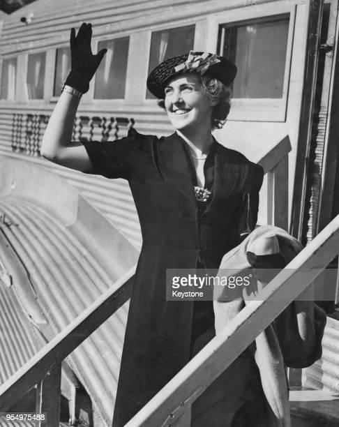 British fitness pioneer Prunella Stack , head of the Women's League of Health and Beauty, leaves Croydon Aerodrome in London for Germany, 9th June...