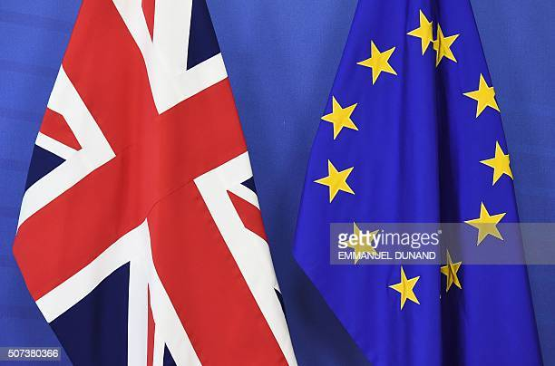 A British flag and an EU flag are set up ahead of British Prime Minister David Cameron's visit at the European Commission in Brussels on January 29...