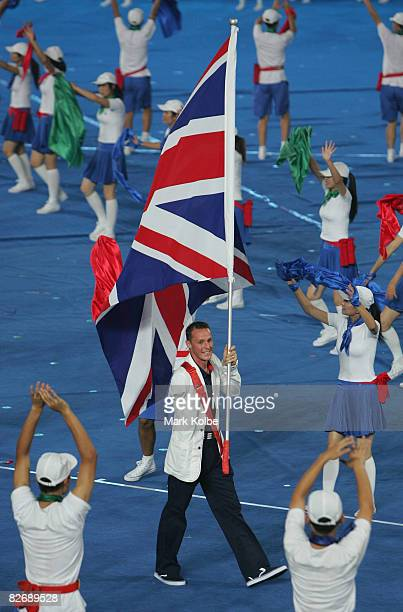 British flag bearer Daniel Crates of Great Britain leads the team during the Opening Ceremony for the 2008 Paralympic Games at the National Stadium...