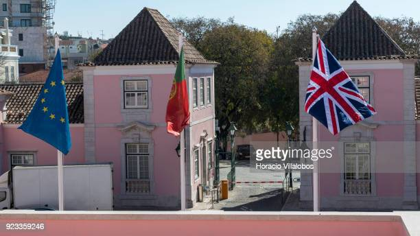 British flag flies with Portuguese an European Union flags at Portuguese Foreign Ministry during Portuguese Foreign Minister Augusto Santos Silva...